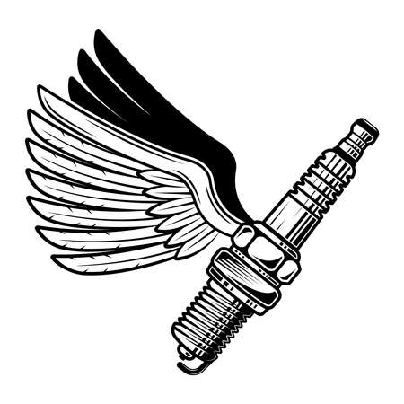 Spark plug with wings vector illustration in monochrome style isolated on white background
