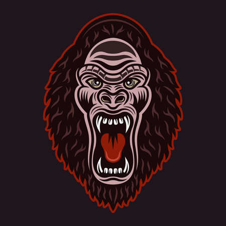 Gorilla head with open mouth vector colorful illustration isolated on dark background 向量圖像