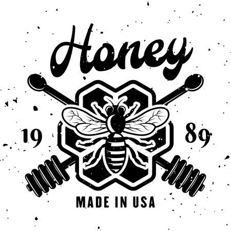 Beekeeping and honey vector emblem, badge, label or logo in monochrome style isolated on white background