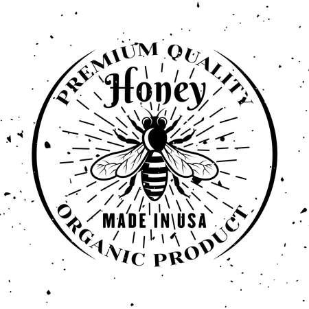 Honey bee vector emblem, badge, label or logo in monochrome style isolated on white background