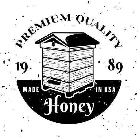 Beekeeping vector emblem, badge, label or logo in monochrome style isolated on white background