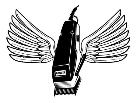 Electrical hair clipper with wings vector illustration in monochrome vintage style isolated on white background 向量圖像