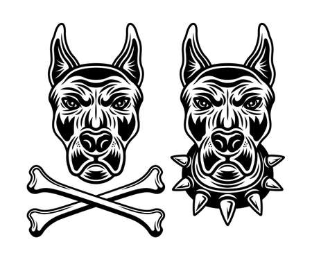 Doberman dog head set of vector illustrations in monochrome style isolated on white background