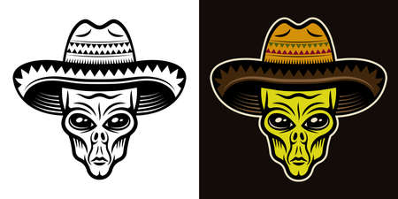 Alien head in sombrero hat vector illustration in two styles black on white and colorful on dark background