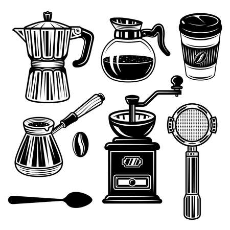 Coffee set of vector objects and elements in monochrome vintage style isolated on white background 向量圖像