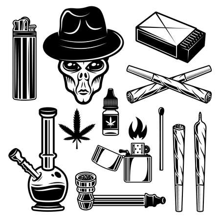 Marijuana and smoking tools set of vector or graphic objects in vintage monochrome style isolated on white background 向量圖像