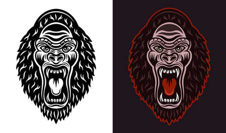 Gorilla head with open mouth vector black and colorful illustration two styles