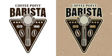 Barista coffee point vector emblem, badge, label or logo. Two styles monochrome and colored with removable textures 向量圖像