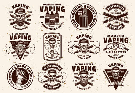Vaping and electronic cigarettes set of vector emblems, labels, badges or logos in vintage style on background with removable textures