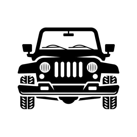 Off road car front view vector black illustration isolated on white background Illusztráció