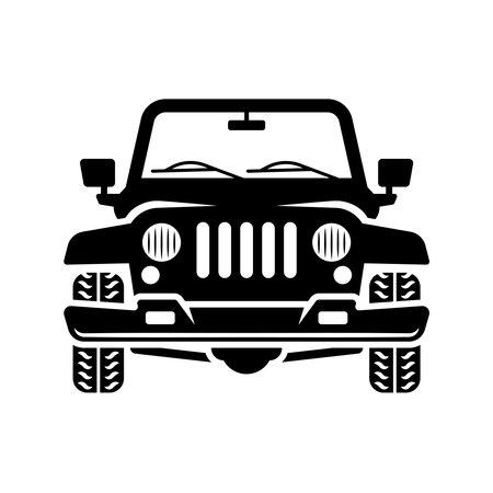 Off road car front view vector black illustration isolated on white background Ilustração