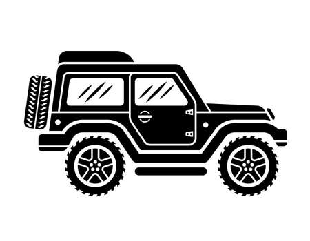 Off road car side view vector black illustration isolated on white background
