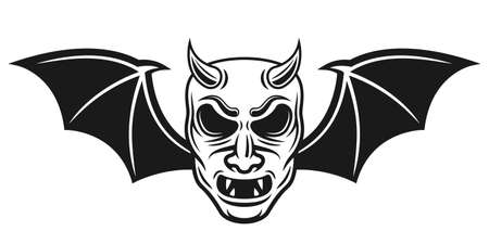 Samurai mask with bat wings and horns vector illustration in monochrome tattoo style isolated on white background