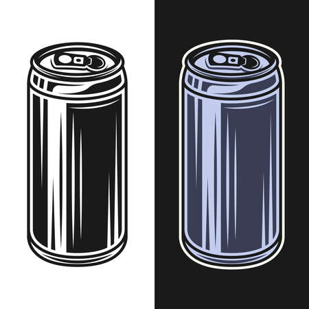 Beer can vector objects in two styles black on white and colorful on dark background Ilustração