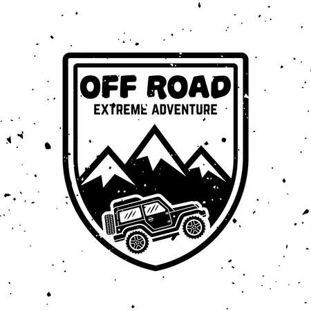 Off-road car and mountains vector monochrome vintage emblem, label, badge  isolated on white background