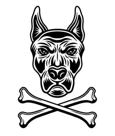 Dog head in spiked collar and two crossed bones vector illustration in monochrome style isolated on white background