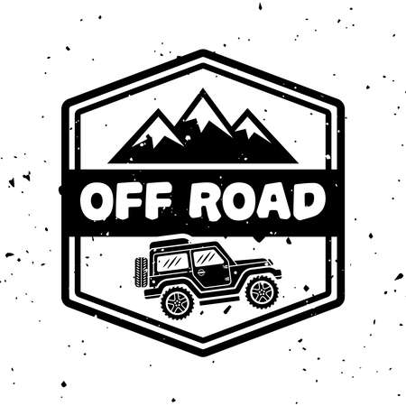 Off-road extreme club vector monochrome vintage emblem with car and mountains isolated on white background