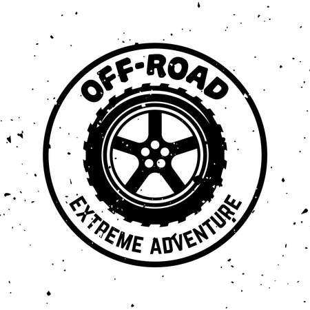 Off-road vector round monochrome vintage emblem with tire isolated on white background Ilustração