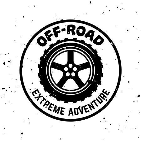 Off-road vector round monochrome vintage emblem with tire isolated on white background Illusztráció
