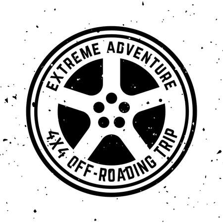 Off-road 4x4 extreme club vector round monochrome vintage emblem with tire isolated on white background