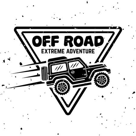 Off-road car vector monochrome vintage emblem, label, badge  isolated on white background