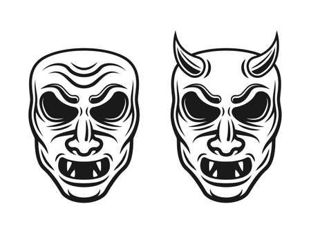 Samurai masks two styles vector illustration with horns and without isolated on white background Illusztráció