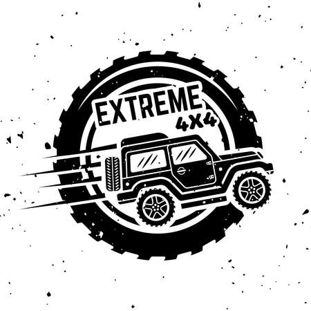 Off-road car side view vector monochrome vintage emblem with tire isolated on white background Ilustração