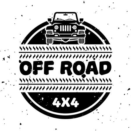 Off-road and extreme adventure vector monochrome vintage emblem isolated on white background Ilustração