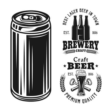 Two brewery emblems, badges, labels or logos and beer can set of vector elements isolated on white background 向量圖像