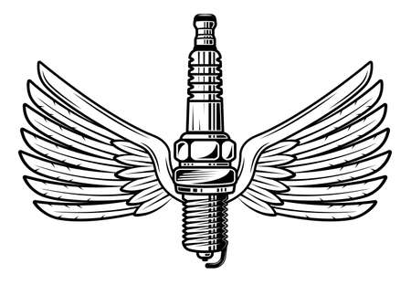 Spark plug with wings vector vintage black and white illustration in isolated on white background