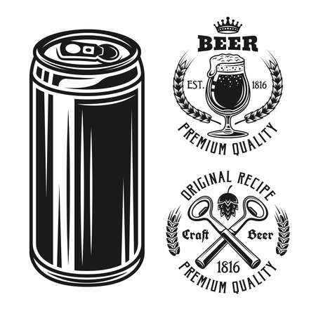 Beer can and two emblems, badges, labels or logos set of vector elements isolated on white background