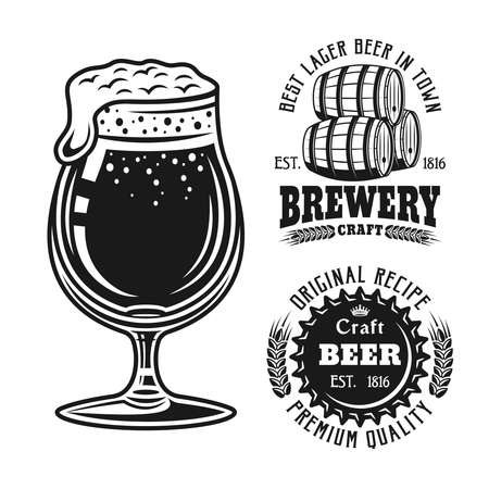 Beer glass and two brewery emblems, badges, labels or logos set of vector elements isolated on white background Ilustração