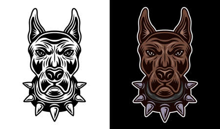 Dog head in spiked collar front view vector two styles illustration black on white and colored on dark background