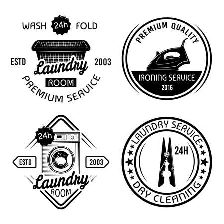 Dry cleaning service and laundry room set of four vector monochrome emblems, labels, badges isolated on white background