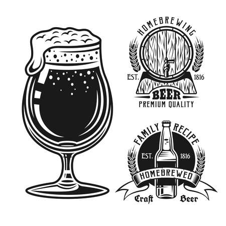 Two brewery emblems, badges, labels or logos and beer glass set of vector elements isolated on white background
