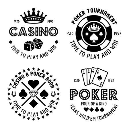 Poker and casino set of four vector monochrome typographic gambling emblems, labels, badges   in vintage style isolated on white background
