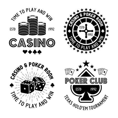 Casino and poker set of four vector monochrome typographic gambling emblems, labels, badges in vintage style isolated on white background Ilustração