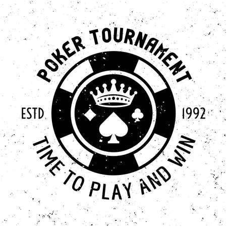 Poker tournament vector round gambling emblem, badge, label  with chip on textured background Ilustração
