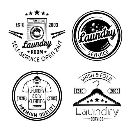 Laundry room and dry cleaning service set of four vector monochrome emblems, labels, badges isolated on white background Ilustração