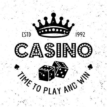 Casino and poker room vector gambling emblem, badge, label  with dice and royal crown on textured background
