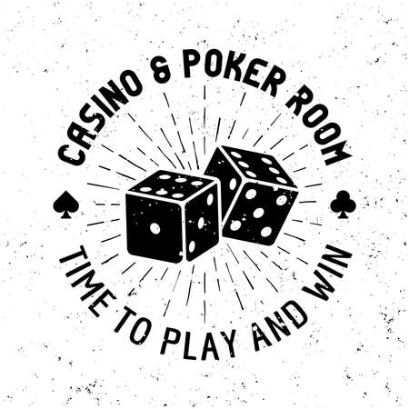 Casino and poker room vector round gambling emblem, badge, label   with dice on textured background