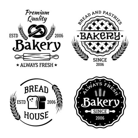 Bakery and pastries set of four vector monochrome emblems, badges, labels isolated on white background