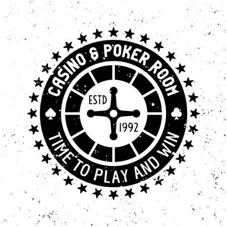 Casino vector round gambling emblem, badge, label  with roulette wheel on textured background Ilustração
