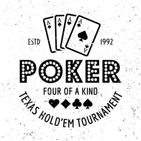 Poker and casino vector gambling emblem, badge, label   on textured background