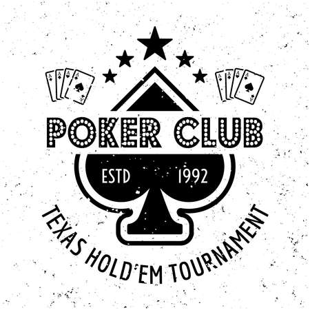 Poker club vector gambling emblem, badge, label on textured background Ilustração