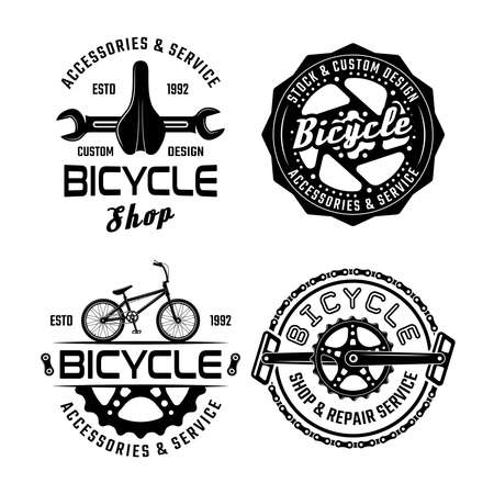 Bicycle set of four vector monochrome emblems, badges, labels or logos isolated on white background