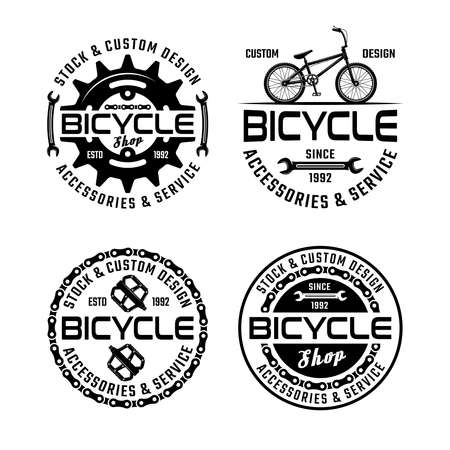 Bicycle shop and repair service set of four vector monochrome emblems, badges, labels or logos isolated on white background