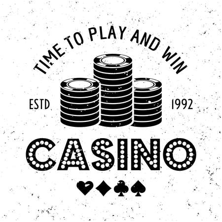 Casino vector round gambling emblem, badge, label   with chips in a stack on textured background Ilustração