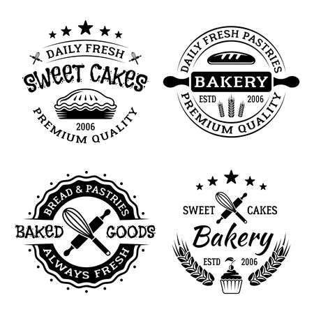 Bakery shop set of four vector monochrome emblems, badges, labels isolated on white background Ilustração