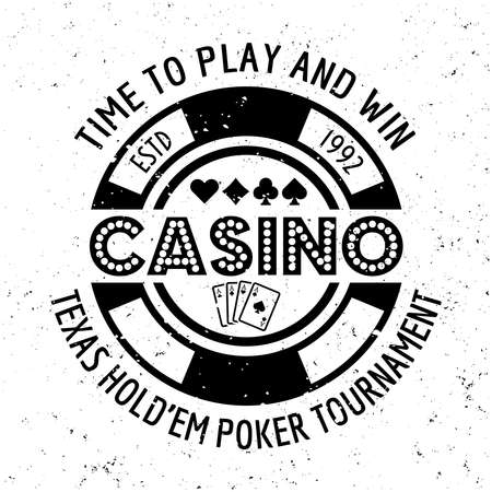 Casino vector round gambling emblem, badge, label  with chip on textured background